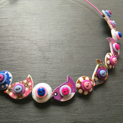 Button Necklace Pink Purple Blue Birds