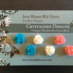 Rose earring trio teal ivory and salmon