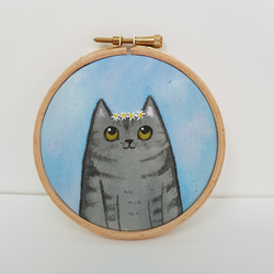 Painted Cat Art - Grey Cat Hoop Art