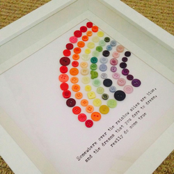 """Somewhere Over The Rainbow"" framed Button Rainbow"