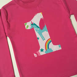 Age  Number 1 Birthday  Kids Tee Top Cerise Pink