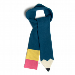 Lambswool Petrol Blue Pencil Scarf