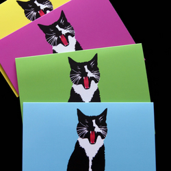 Yawning Cat Cards Pack - 4 x A6 Blank Cute Cats Greeting Cards - Nixii Art