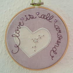 'Love is all around' Embroidery and appliqué Hoop Art - vintage cloth heart
