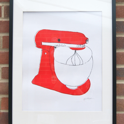 Red Screen Printed Mixer. A2.