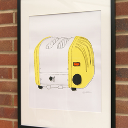 Screen Print Toaster Illustration. A2. Yellow.