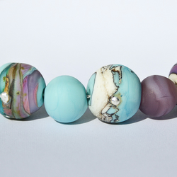 Etched Turquoise & Purple's Mix Bead Set