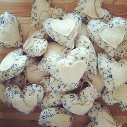 Cream & Blue Floral Heart Wedding Favours