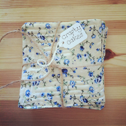 Set of 4 Cream & Blue Floral Quilted Coasters