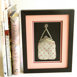 Framed Wall Art Pewter Handbag Fuscia Pink