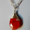 CARNELIAN AND SILVER NECKLACE - - FREE SHIPPING WORLDWIDE