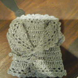 silver glittery crochet cardigan with front ties doll premature baby  1071 cjh39