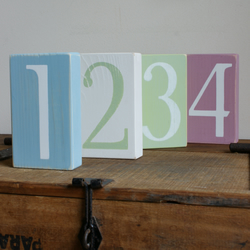 6 Shabby Chic hand painted wooden blocks WEDDING TABLE NUMBERS. Photo props