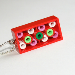 Reverse Lego Red Berry Rectangle Necklace (reversible)