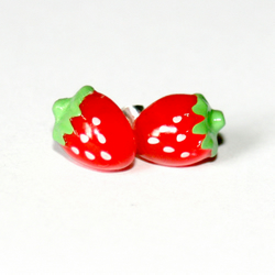 Micro Miniature Kawaii Strawberry Stud Earrings