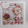 Handmade 3D Cute Bear, poppies on dress Birthday Card, Personalise, Scallopped