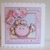Decoupage, 3D Teapot and Cute Mice Greeting Card, Get Well, Birthday,personalise