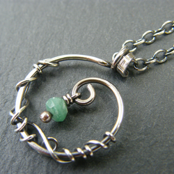 Emerald necklace, Sterling silver birthstone necklace