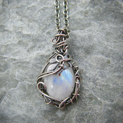 Sterling silver wire wrapped blue moonstone necklace with leaf details