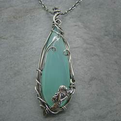 Antique sterling silver, aqua chalcedony Mermaid necklace pendant
