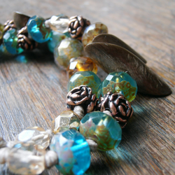 midsummer forest bracelet - handmade bracelet in brown, aquamarine and copper