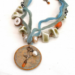 handmade blue and green pendant necklace with pearls and porcelain beads