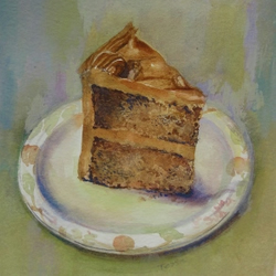 Coffee and Walnut Cake original watercolour painting SFA