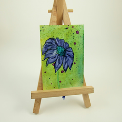 ACEO Miniature Painting, Purple Daisy Flower
