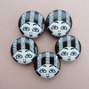 2 x 23mm Black & White Flapper Girl Buttons - Striped Hat Variation