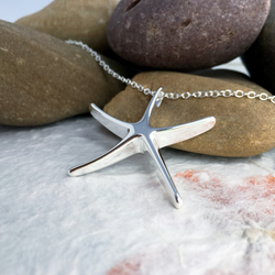 Silver Starfish Necklace, Gift for Her at Christmas, Seaside Shell Gift