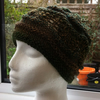 Handknitted lace and wave feminine hat