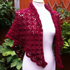 Deep Red Australian Merino Wool Crochet Shawl