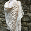 Handmade cream lace and texture shawl