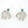 Silver Elephant Earrings with Turquoise beads