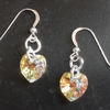 Aurora Borealis Crystal Heart Earrings With Crystal Hearts From Swarovski