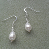 Sterling Silver Pearl Drop Earrings with Pearls From Swarovski