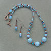 Clearance Antique Copper and Czech glass beaded Necklace and Earring Set