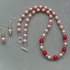 Shell Pearl and Crystal Necklace and Earring Set