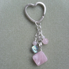Rose Quartz and Abalone Keyring