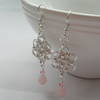 Chain Mail Flower Rose Quartz Pink Crystal Silver Plate Earrings