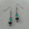 Earrings With Black Onyx , Green Agate and Marcasite Black Tone