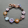 Flower Bracelet With Czech Glass Beads