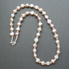 Freshwater Cultured Pearl and Rose Quartz Sterling Silver Necklace