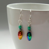 Rainbow Haematite And Czech Glass Silver Plated Earrings