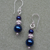 Blue Haematite Dangle Earrings Silver Plate