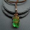 Green Quartz Drop Pendant With Faux Suede Cord Wire Wrapped