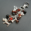 Dog Bag Charm Silver Coloured Semi Precious Stone and Crystal Beads