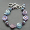 Blue and Purple Czech Glass Flower Bracelet Silver Plated