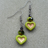Green Heart Dangle Earrings Czech Glass Black Coloured Vintage