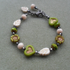 Green Flower and Heart Czech Glass Beaded Bracelet